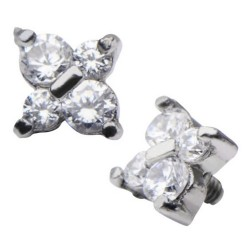 Stainless Steel Clear CZ Gem Butterfly Flower Dermal Anchor