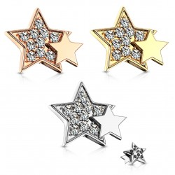 Surgical Steel Gem Paved Double Star Dermal Anchor