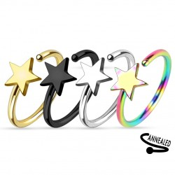 Titanium Plated Shooting Star Nose Hoop / Ring