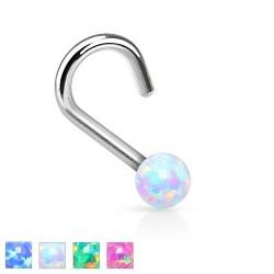 Surgical Steel 2mm Opal Ball Nose Hook