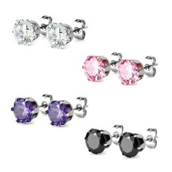 Surgical Steel Crystal CZ Gem Earrings / Studs