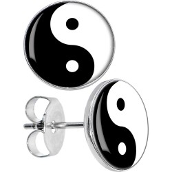 Surgical Steel Yin Yang Logo Disc Stud Earrings